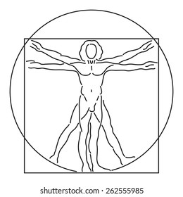 Leonardo Da Vinci Vetruvian Man, human anatomy, Vector Line Art, Black on White, editable
