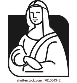 Leonardo da Vinci's Mona Lisa flat vector icon eps10