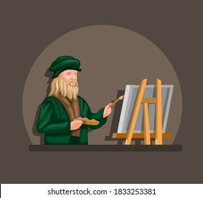 leonardo davinci drawing and painting on canvas concept in cartoon illustration vector