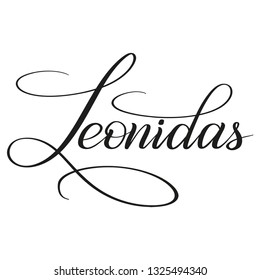 Leonidas. Calligraphic spelling of the name. Copperplate style. Isolated black script. Vector.