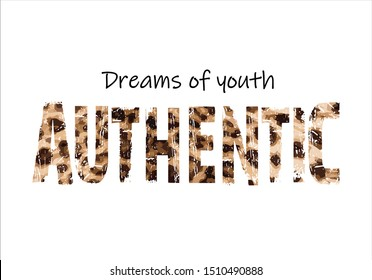 leopar authentic slogan vector design