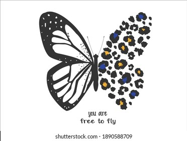 leopar butterfly butterflies and daisies positive quote flower design margarita  mariposa stationery,mug,t shirt,phone case fashion slogan  style spring summer sticker and etc fashion design