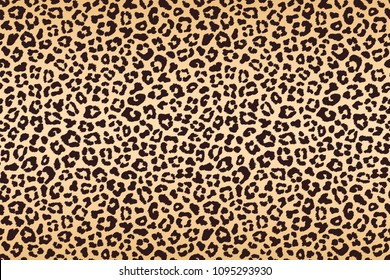 Leopard beige brown spotted fur texture. Vector