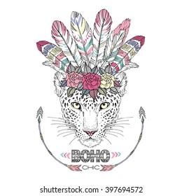 leopard bohemian chic, summer art print, animal illustration