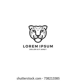 leopard cheetah head logo vector icon template