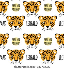 Leopard face with lettering on a white isolated vector seamless pattern. africa animals background