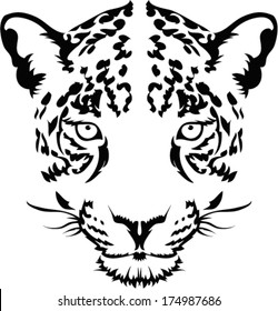 Leopard face tattoo ,Vector