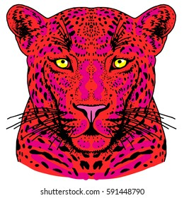 Leopard face tattoo, Vector illustration, print