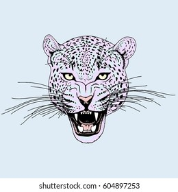 Leopard face tattoo ,Vector illustration, print