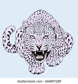 Leopard face tattoo ,Vector illustration, print