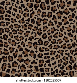 Leopard fashion beige seamless pattern for trandy textile prints, wallpaper, wrapping. Animal background effect.