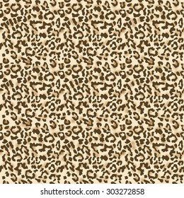 Leopard fur. Realistic seamless fabric pattern. Vector illustration