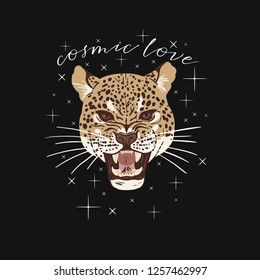 Leopard head. Cosmic love slogan. Typography graphic print, fashion drawing for t-shirts. Vector stickers, print, patches vintage rock style