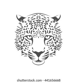 Leopard head logo or icon. One color. Stock vector illustration.