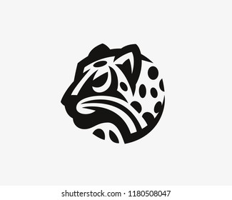 Leopard  head logo.Wild cat emblem design editable for your business.Vector illustration.