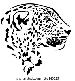 leopard head profile design - black and white animal outline