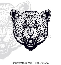 leopard head vector with vintage outline  style