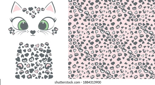 Leopard from hearts seamless pattern. Cute kitten with heart dots.Set prints for kids clothes.