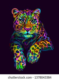 Leopard / Jaguar. Abstract, graphic, colorful in neon colors artistic portrait of a leopard on a dark purple background.