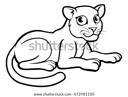 Leopard Jaguar Panther Cartoon Character Outline Stock Vector