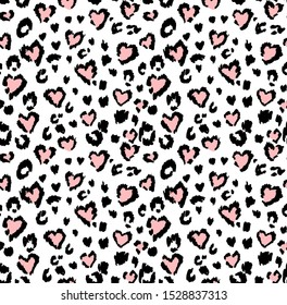 Leopard or jaguar print seamless pattern, textured fashion print, abstract safari background for fabric, textile. Effect of big tropical wild cat fur, spots stylized as hearts with pink camouflage
