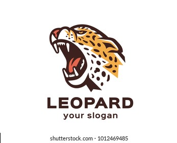 Leopard logo. Vector format, available for editing. Full-color version. White background.
