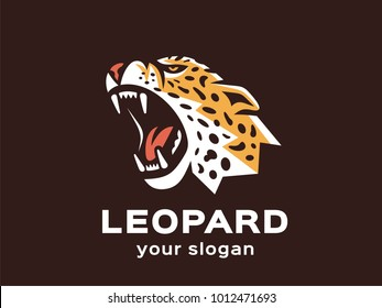 Leopard logo. Vector format, available for editing. Full-color version. Dark background.