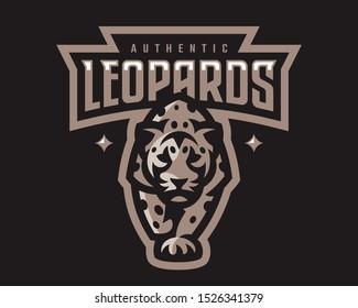 Leopard modern mascot logo, template design emblem for a sport and eSport team.
