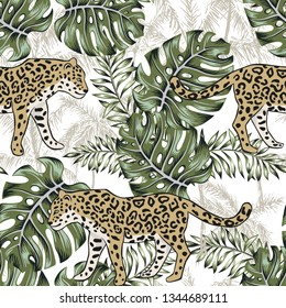 Leopard, monstera leaves, palm trees, white background. Vector floral seamless pattern. Tropical illustration. Exotic plants, animals. Summer beach design. Paradise nature