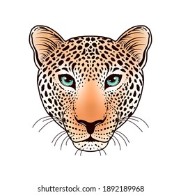 Leopard muzzle on white background. Idea for tattoo or t-shirts design.