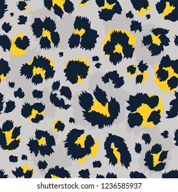 Leopard pattern design funny drawing seamless pattern. Lettering poster or t-shirt textile graphic design wallpaper, wrapping paper.