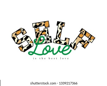 leopard patterned self slogan, printing design and various jobs, typography,  vector.