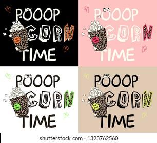 leopard popcorn design, neon color, foursome set vector