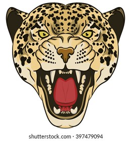 Leopard Portrait. Angry wild big cat head. Cute face of African Aggressive predator with bared teeth in cartoon style, t-shirt print design