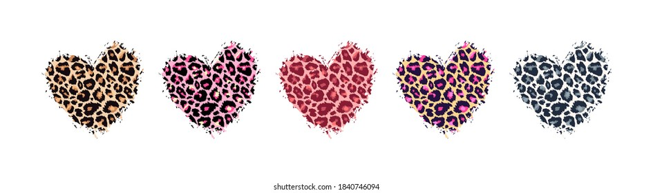 Leopard print textured hand drawn brush stroke heart shape set . Abstract paint spot with wild animal cheetah skin pattern texture. Brown, yellow, pink, grey vector design elements for print designs.