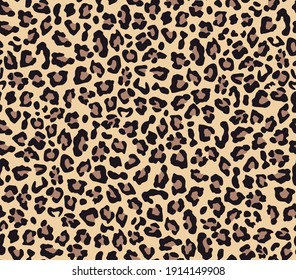Leopard print vector seamless. Fashionable background for fabric, paper, clothes. Animal pattern.