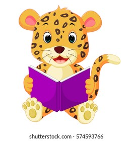 leopard reading book