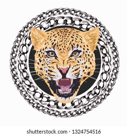 leopard roaring in chain lace circle illustration