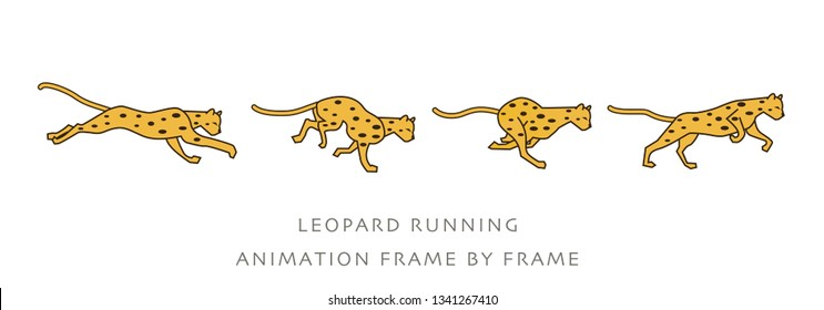 LEOPARD RUNNING ANIMATION FRAME BY FRAME - VECTOR