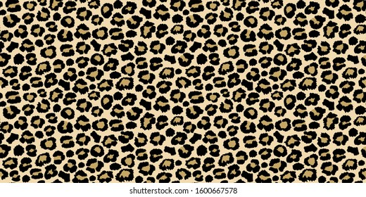 Leopard seamless pattern design, vector illustration light brown background