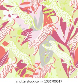 Leopard seamless pattern. Leopard silhouettes in a geometric print. Absract jungle background with geometric elements, doodles, exotic flowers and leaves. Good for textile, fabric clothes.