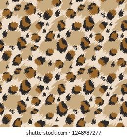 Leopard seamless pattern. Tiger skin print. Animal background. Vector illustration