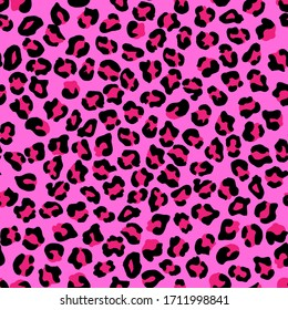 Leopard seamless pattern. Vector animal print. Black and bright pink spots on a pink background. Jaguar, leopard, cheetah, panther fur. Leopard skin imitation can be painted on clothes or fabric.