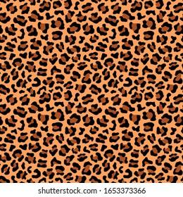 Leopard skin fur seamless pattern. Wild animal repeating print design. Vector wallpaper.