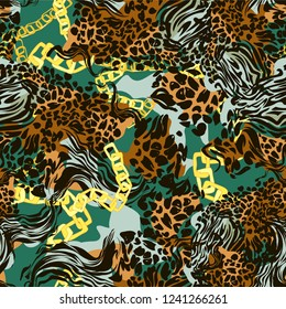 Leopard skin and gold chain texture for fashionable fabric pattern seamless. Abstact background trend vector illustration.