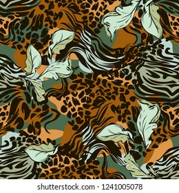 Leopard skin and leaves texture for fashionable fabric. Pattern Seamless. Abstact background trend vector illustration.