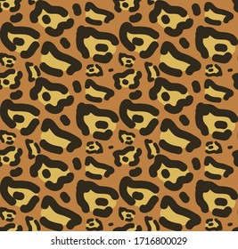 Leopard skin seamless pattern. African animals concept endless background, repeating texture. Vector illustration