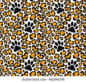 Leopard skin seamless pattern. Vector illustration with cat paw print. Jaguar print for wallpaper, clothes wrapping, fabric, paper, cover, textile, design, background. Orange color