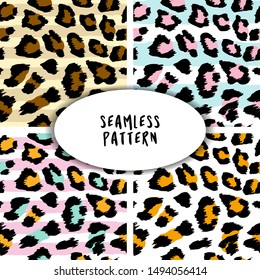 Leopard and snake pattern design set - funny  drawing seamless pattern. Lettering poster or t-shirt textile graphic design. / wallpaper, wrapping paper.