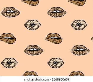 Leopard spots lips vector seamless pattern background